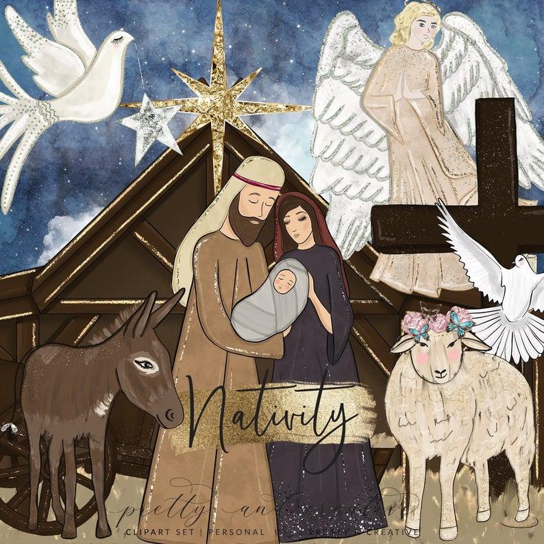 Nativity clipart religous. Religious christmas jesus star