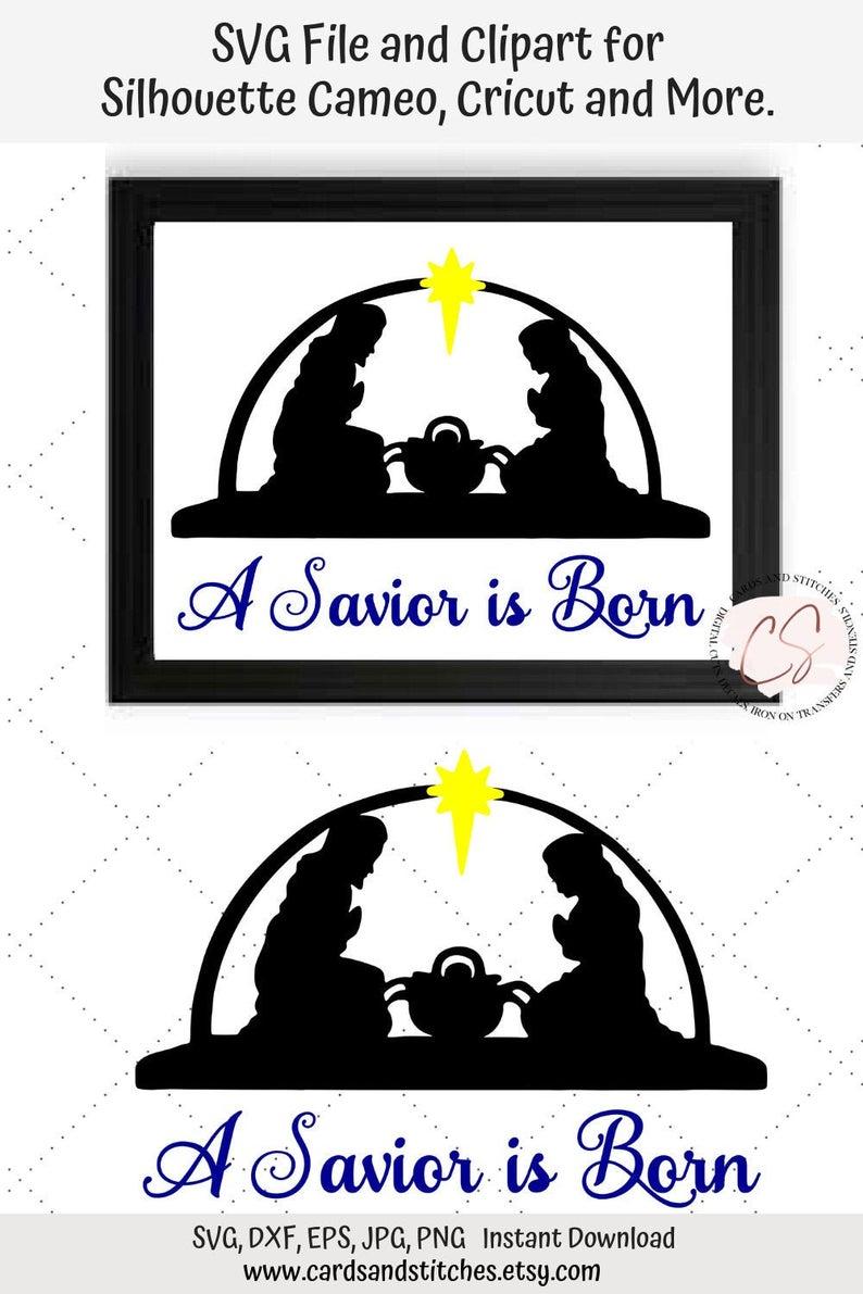 Svg a is christmas. Nativity clipart savior born