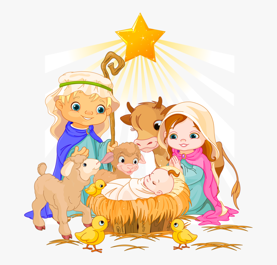 Cartoon scene . Nativity clipart savior born