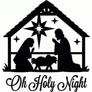 Nativity clipart silent night. Silhouette design store oh