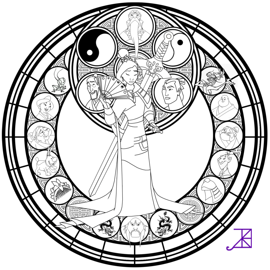 Mulan line art by. Nativity clipart stained glass