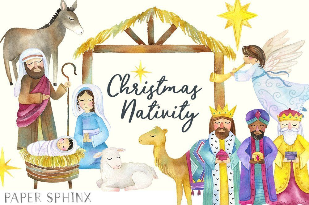Christmas holiday . Nativity clipart watercolor