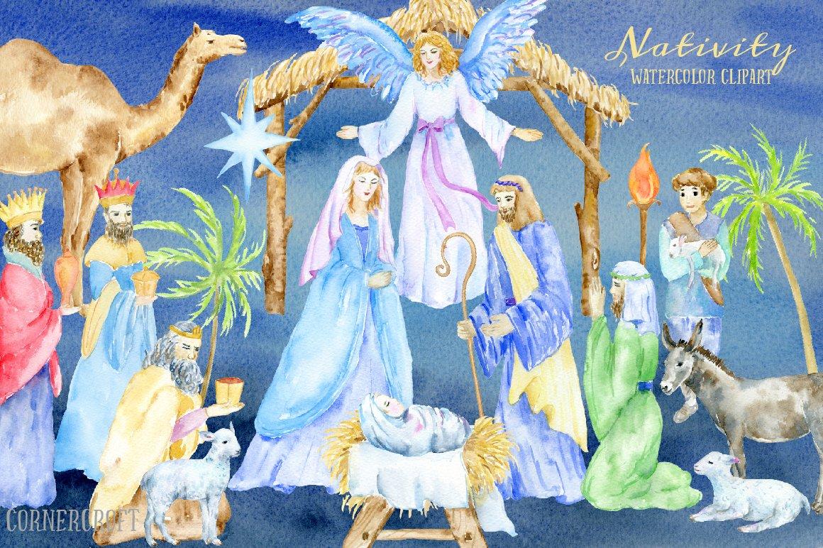 Nativity clipart watercolor. Illustrations creative market