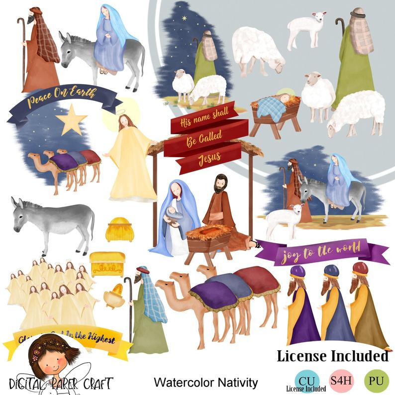 Nativity clipart watercolor. Christian instant download christmas