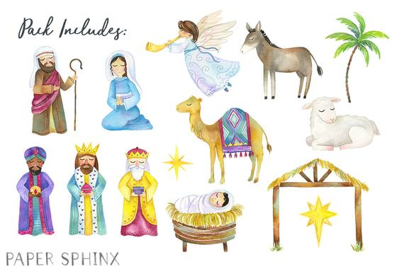 Christmas holiday with baby. Nativity clipart watercolor