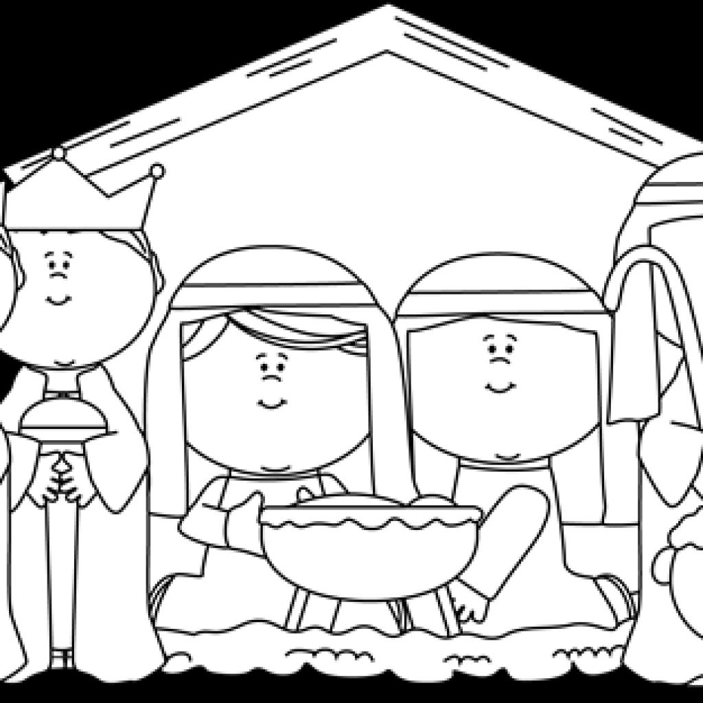 Nativity clipart wisemen. Black and white spring