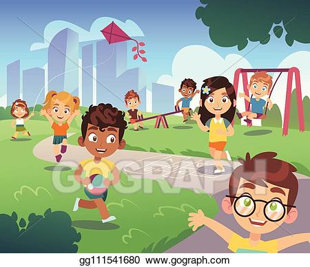 Outside clipart animated nature. Vector art kids playground