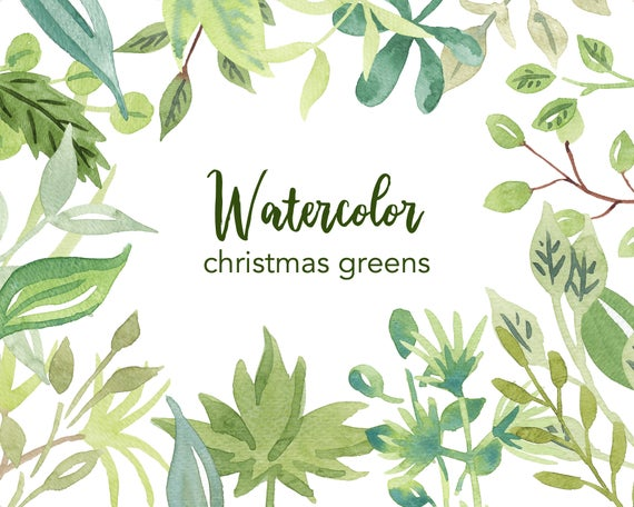 Watercolor leaves branches tree. Nature clipart leaf