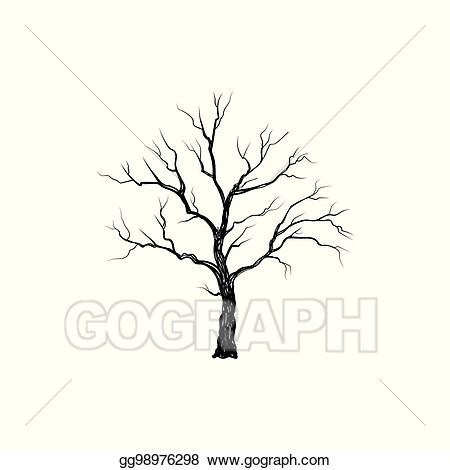 Vector art tree without. Nature clipart winter