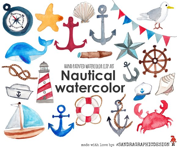 Watercolor clip art illustrations. Nautical clipart