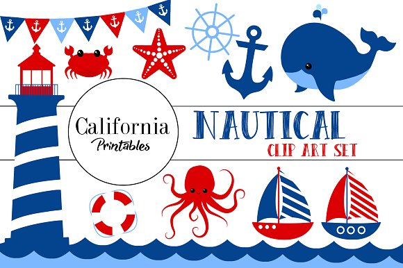 Cute clip art set. Nautical clipart