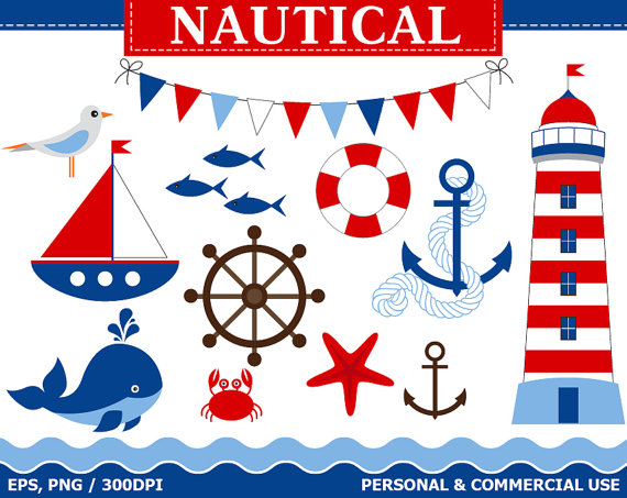 Digital clip art boat. Nautical clipart