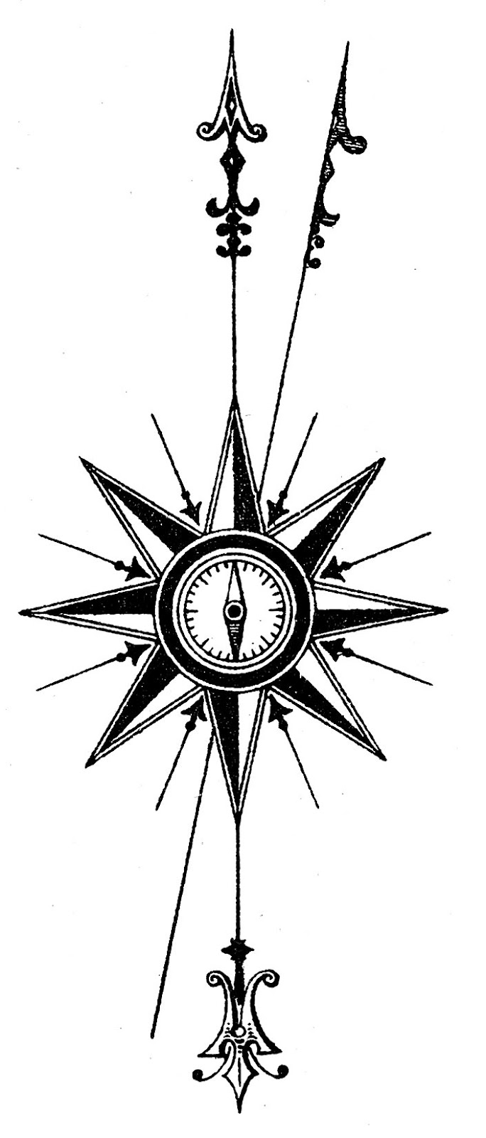 Free vintage nautical cliparts. Steampunk clipart compass rose