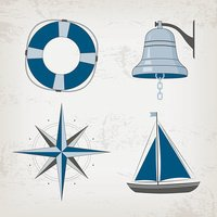Nautical clipart bell. Design elements boat lifebuoy