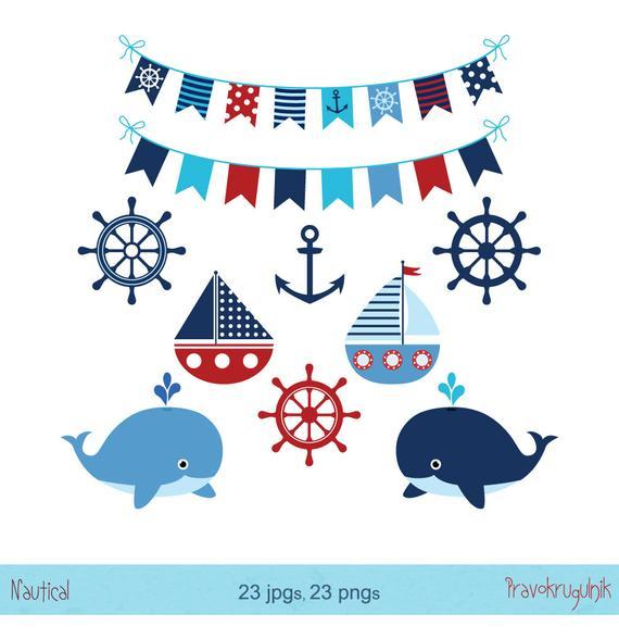 Nautical clipart blue nautical. Boy whale sea anchor