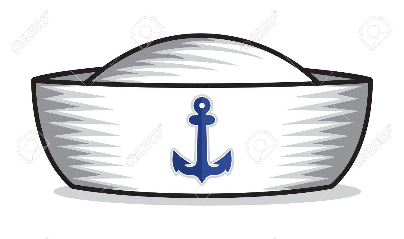 Sailor stock vector illustration. Nautical clipart cap