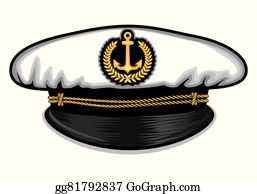 Clip art vector graphic. Nautical clipart captain cap