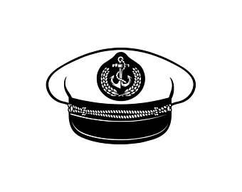 Sailor hat etsy . Nautical clipart captain cap