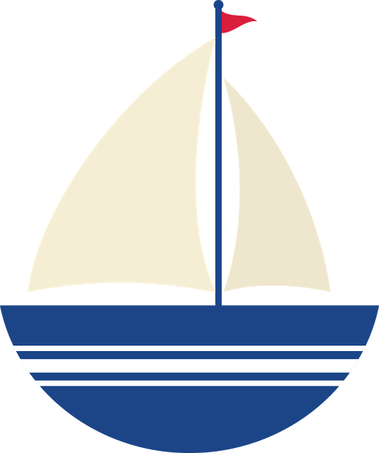 Nautical colorful sailboat