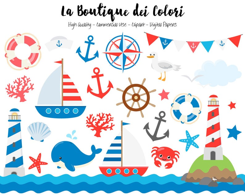 Classic vector graphics and. Nautical clipart cute