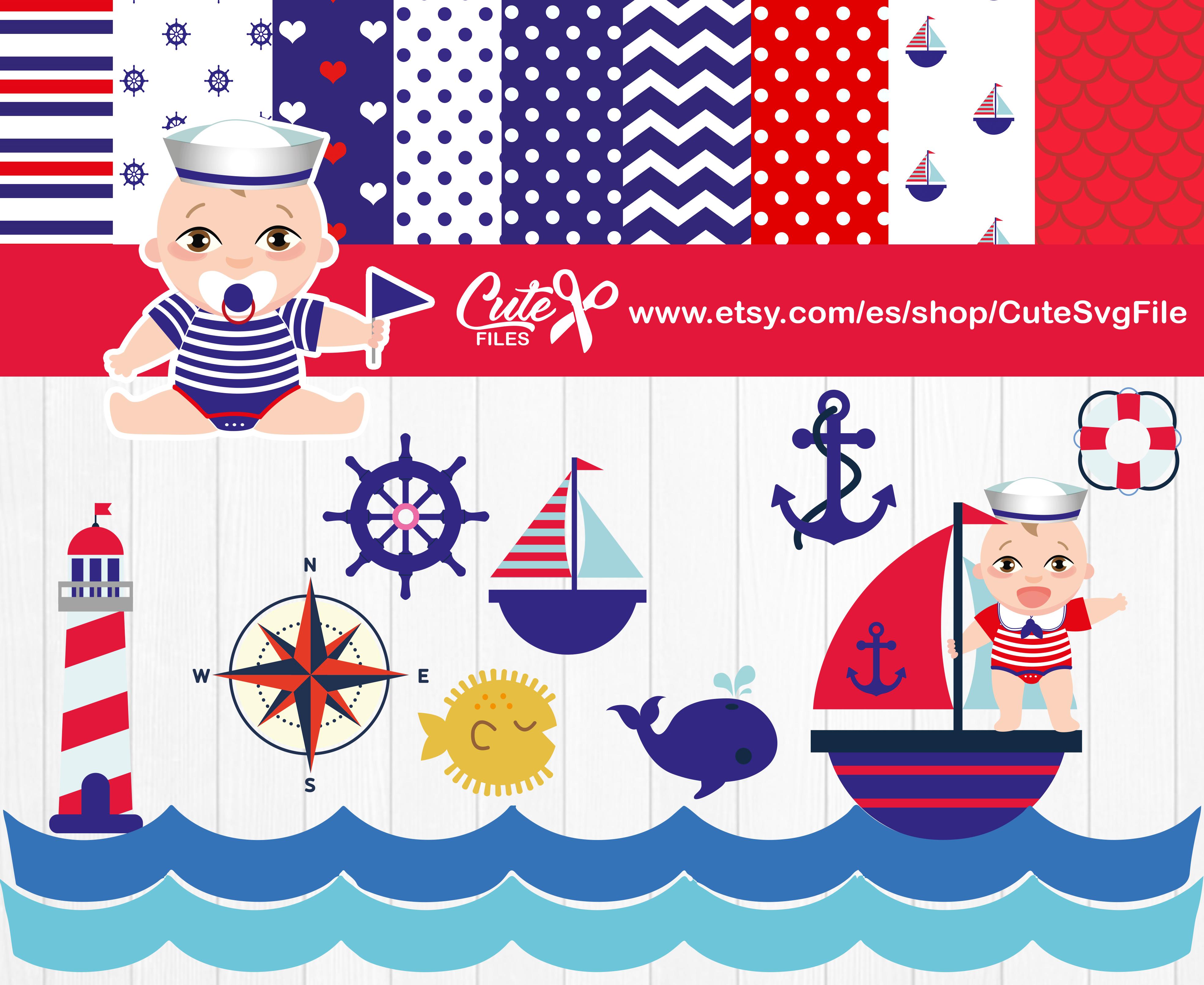 Boy set . Nautical clipart cute