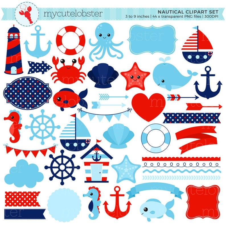 Set digital elements ocean. Nautical clipart nautical item