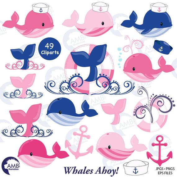Nautical clipart nursery. Whale pink commercial use