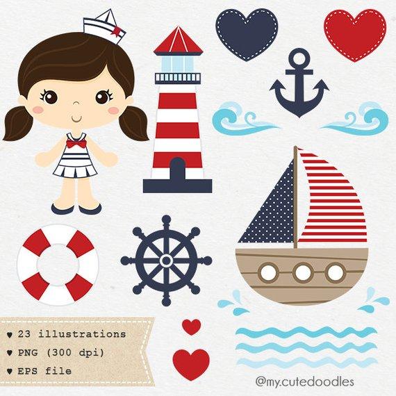 Sailor girl baby decoration. Nautical clipart nursery