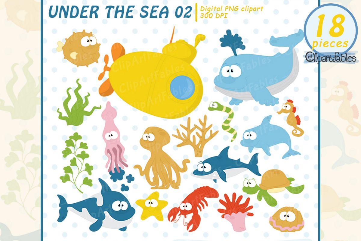 Sea animals clip art. Ocean clipart nautical