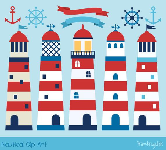 Nautical clipart red. Cute lighthouse navy sea