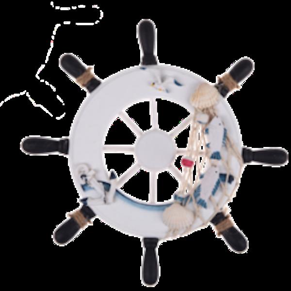 White and blue ship. Wheel clipart nautical