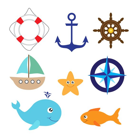 Graphics illustrations creative market. Nautical clipart