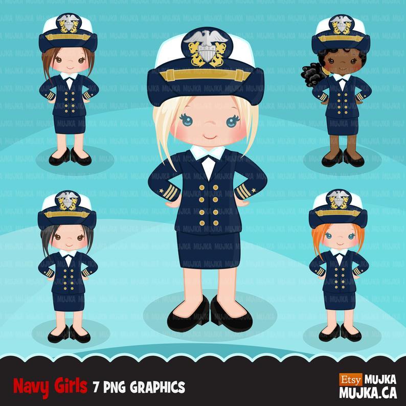 Female officer little graphics. Navy clipart girl navy