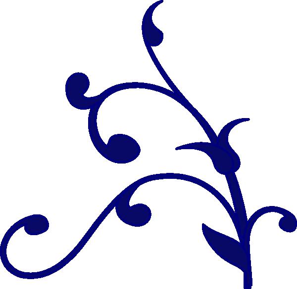 Blue flower design clip. Navy clipart line