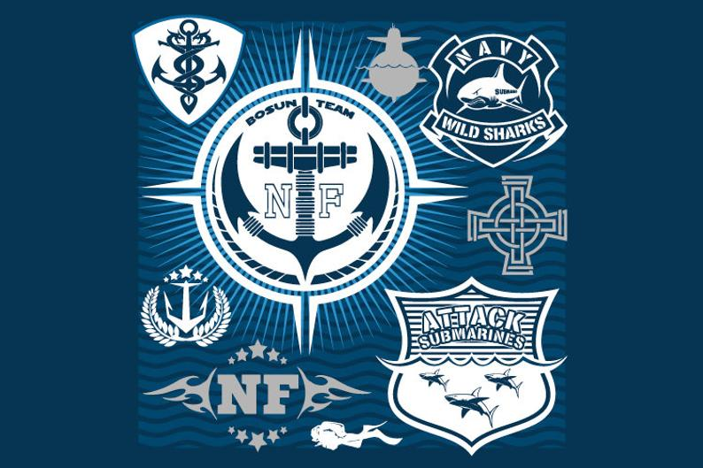 Navy clipart naval. Forces badges military vector