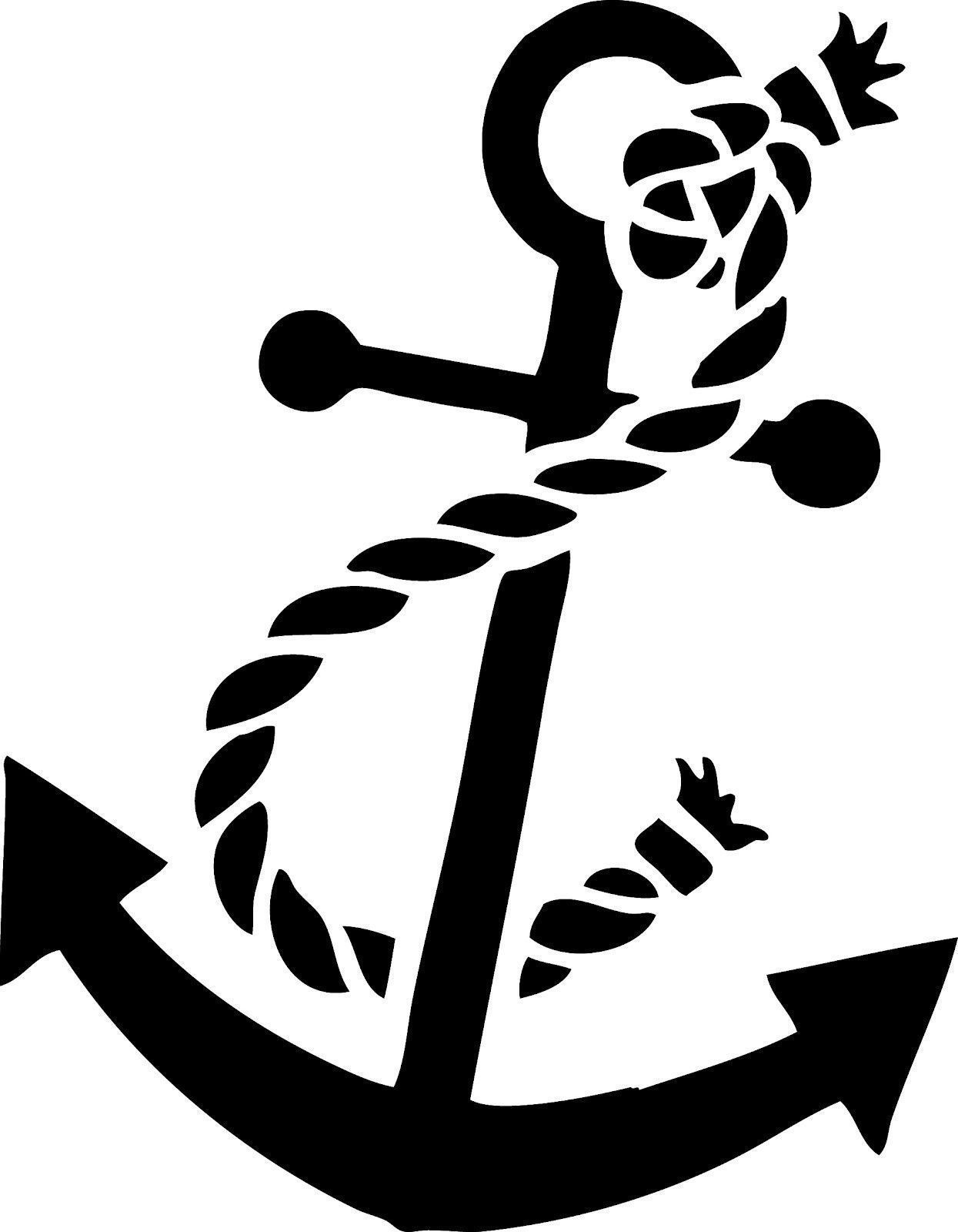 Details about anchor decal. Navy clipart stencil