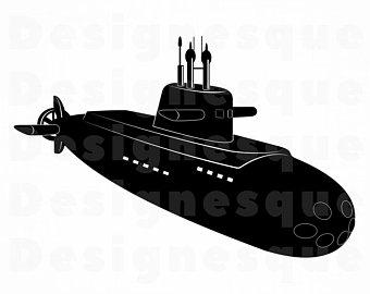 Submarine clipart vector. Navy etsy
