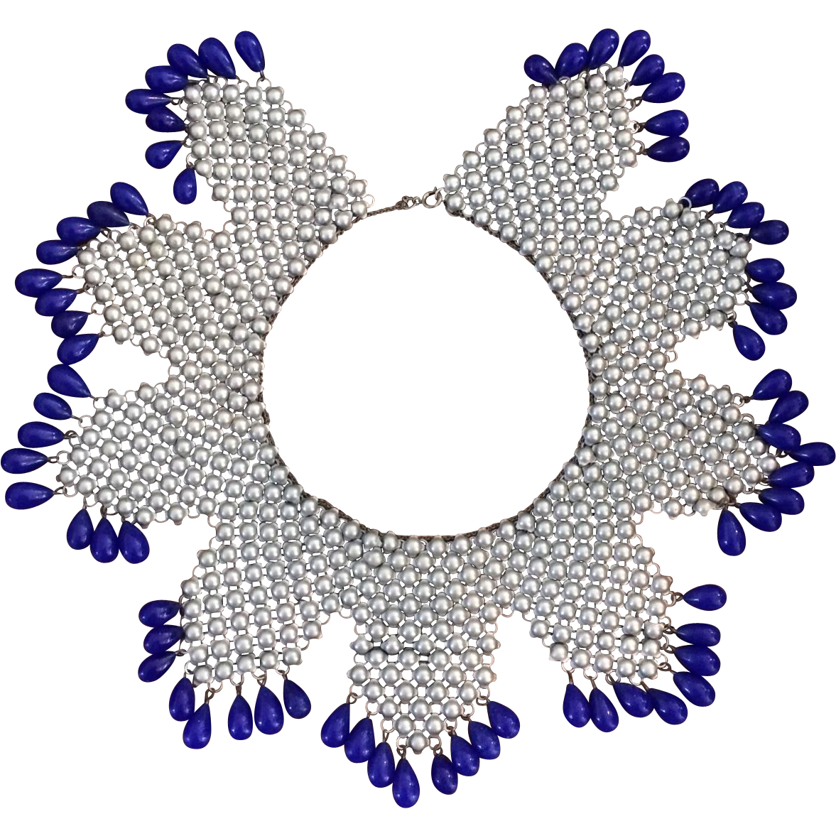 Runway metal mesh bib. Necklace clipart glass bead