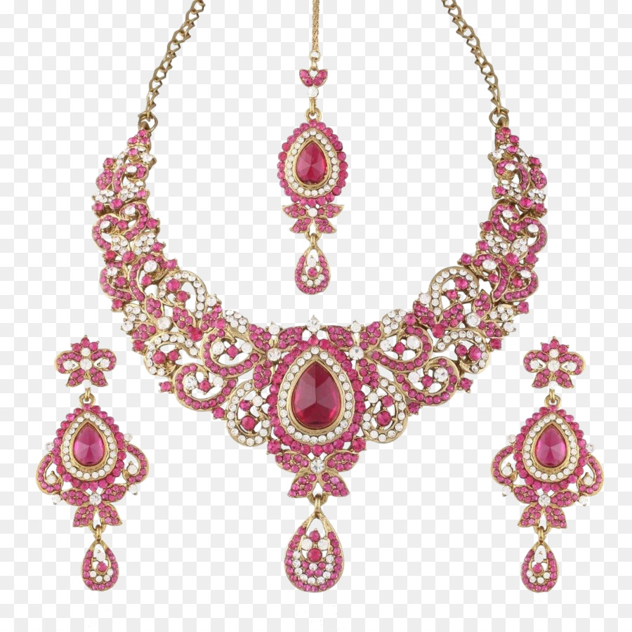 Pink transparent . Necklace clipart gold traditional