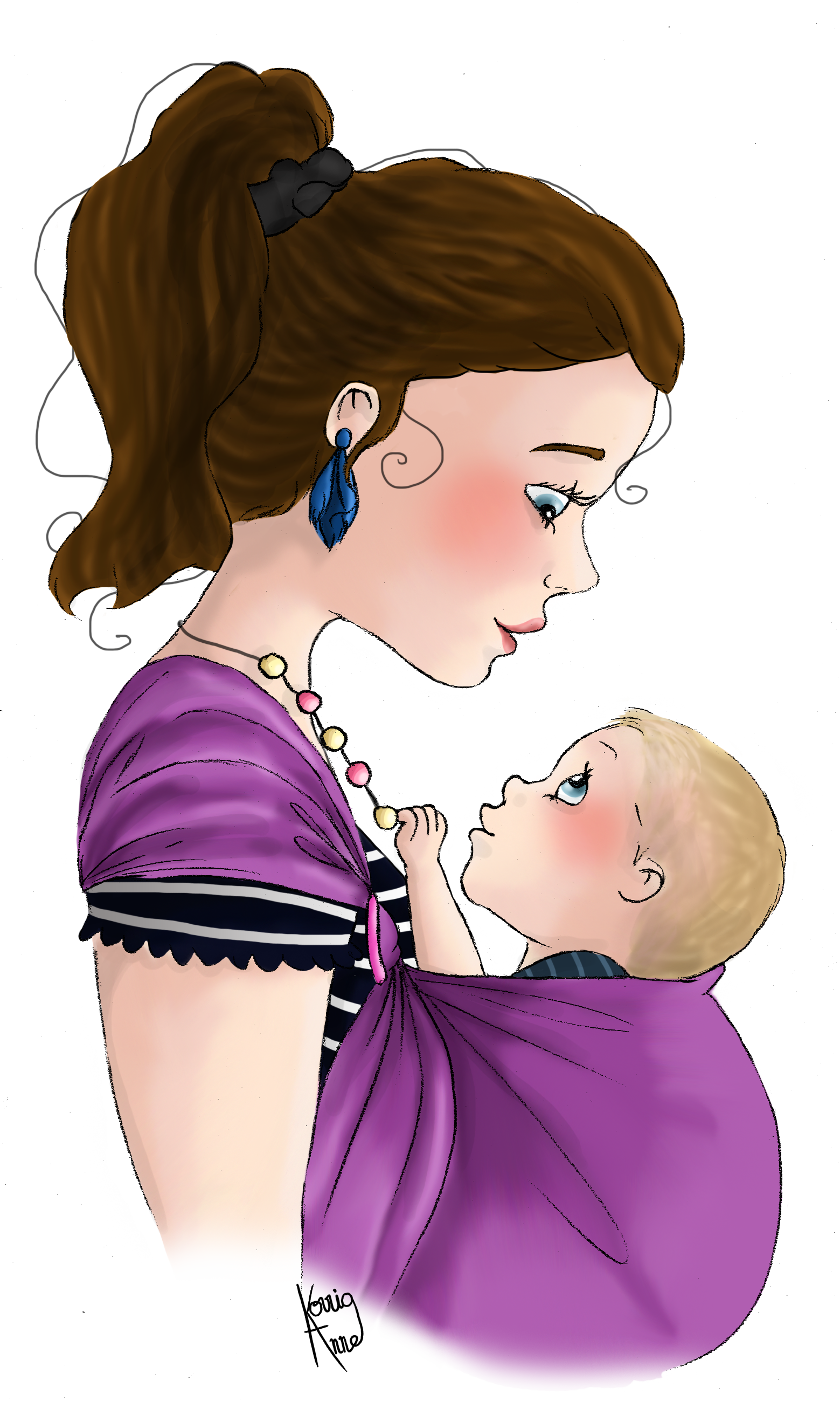 Illustration portage maternage pinterest. Necklace clipart hmong