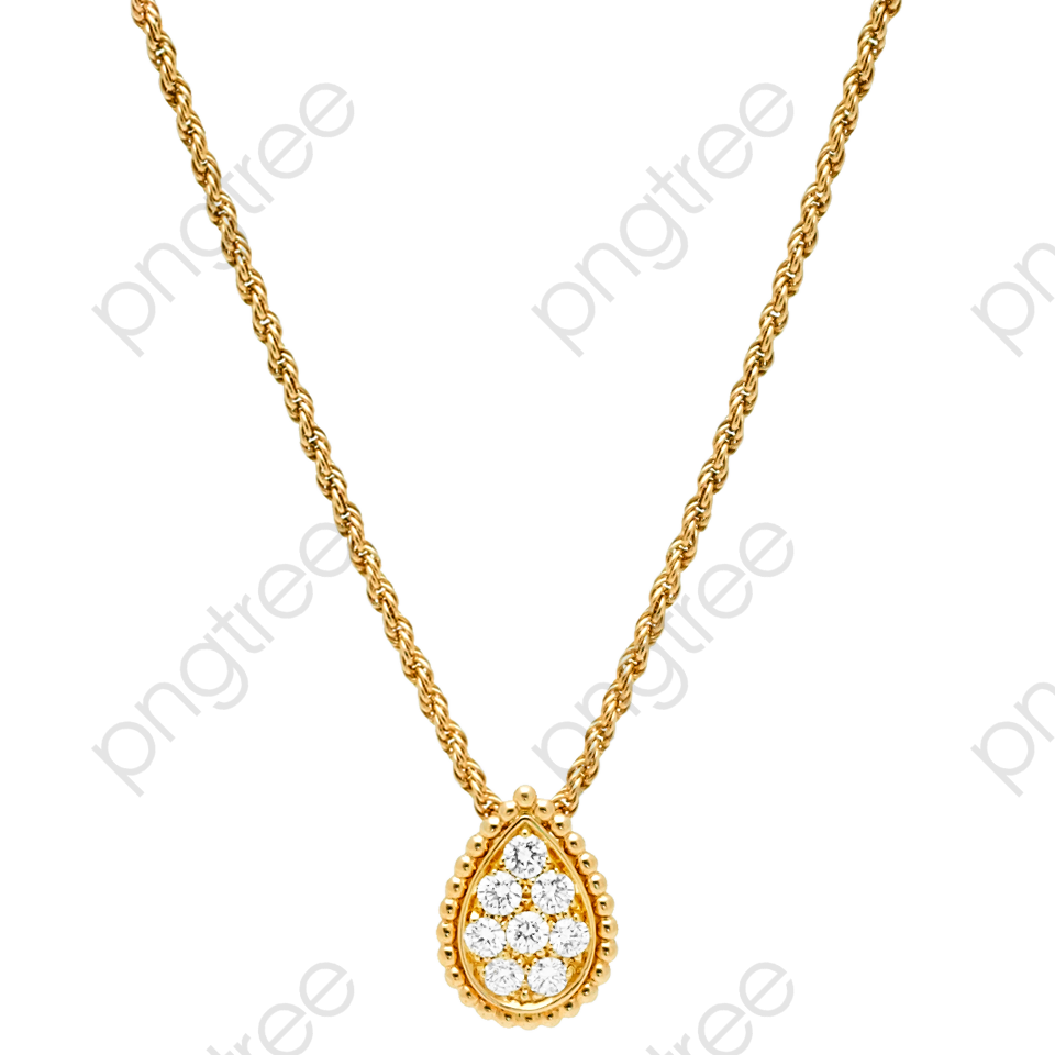 Gold jewelry pendant material. Necklace clipart png format