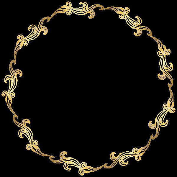 Floral border png transparent. Necklace clipart round gold