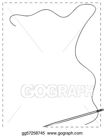 Needle clipart border. Stock illustration stitched with