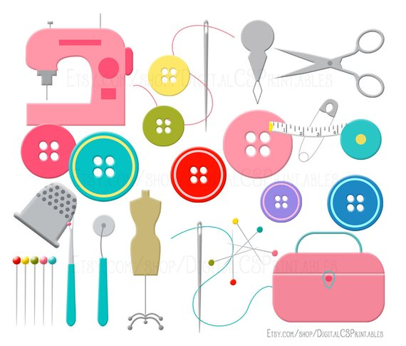 Sewing clip art button. Needle clipart cute