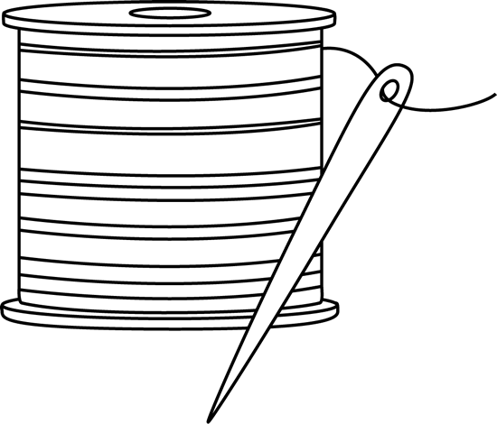 Black and white thread. Needle clipart outline