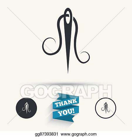 Vector stock with thread. Needle clipart tailor