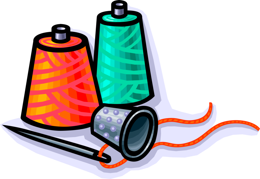 Sewing clipart spool thread. Thimble with and needle