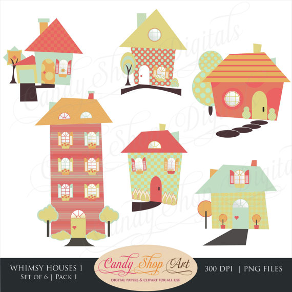 Neighborhood clipart 4 house. Instant download whimsical houses
