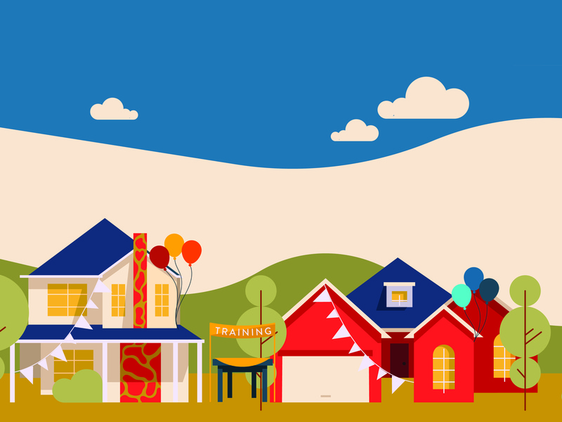 Block party illustration by. Neighborhood clipart colored house