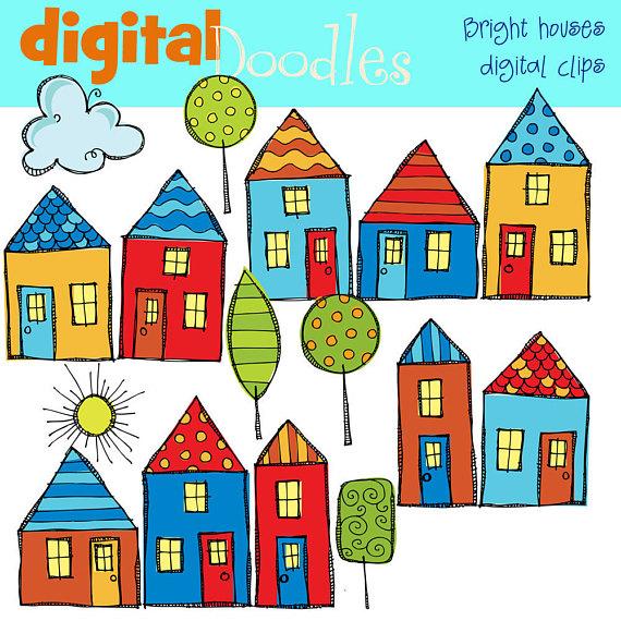 Neighborhood clipart house. Kpm bright digital products